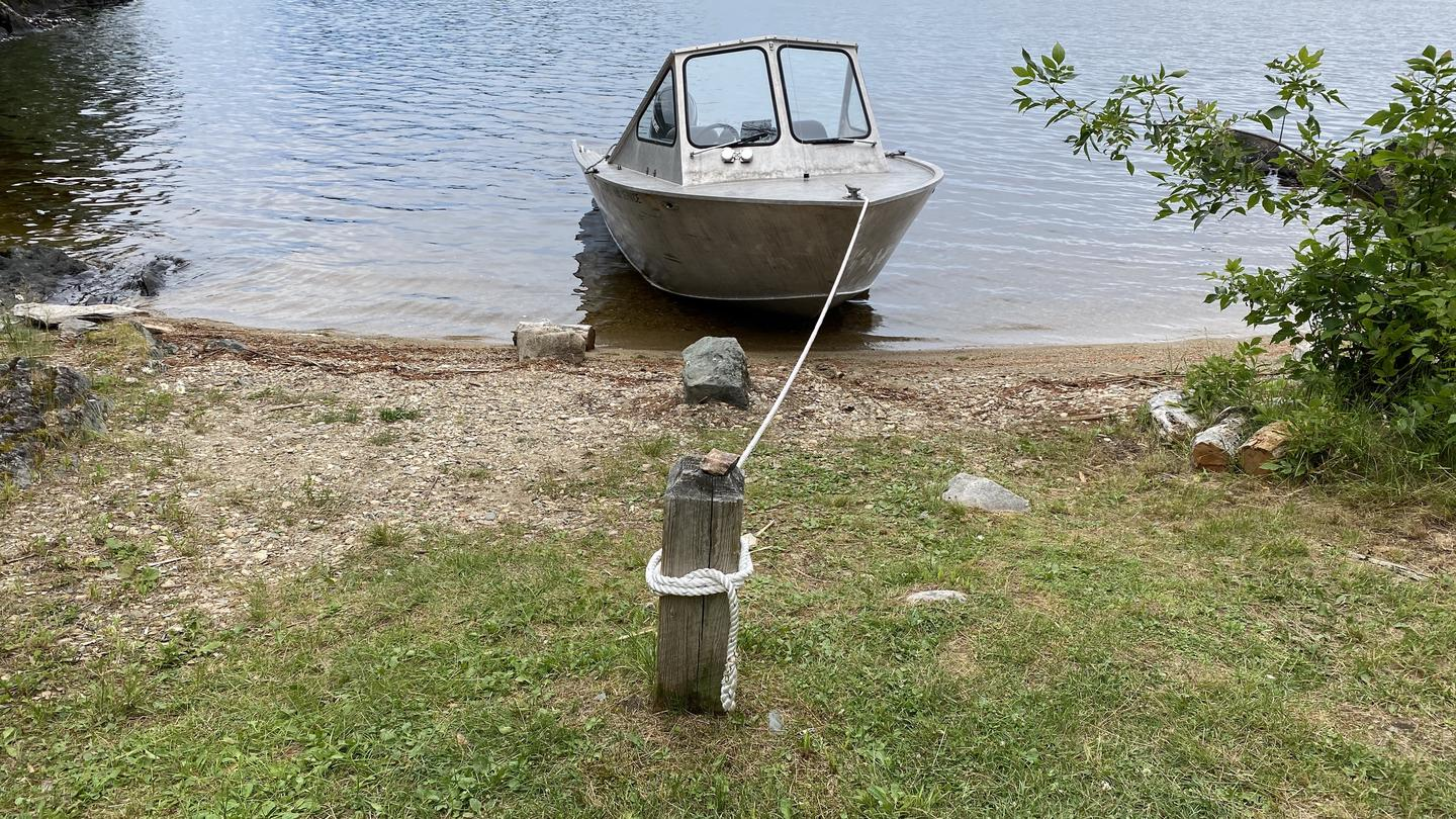 View of beach boat access and mooring post