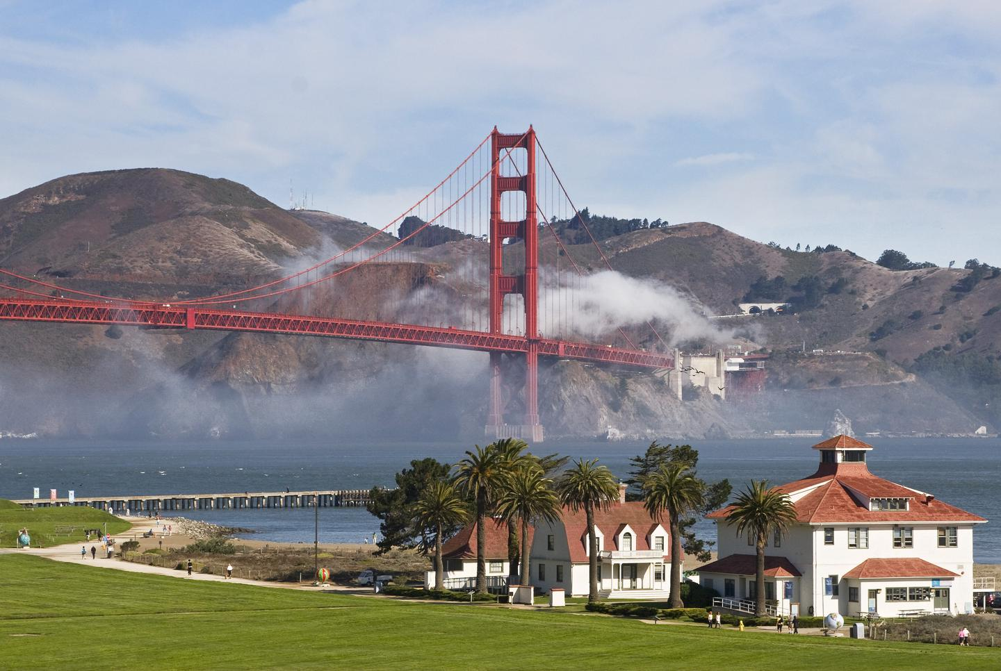 Crissy FieldCrissy Field is a popular spot to wak and run while viewing the bay and changing fog conditions.l