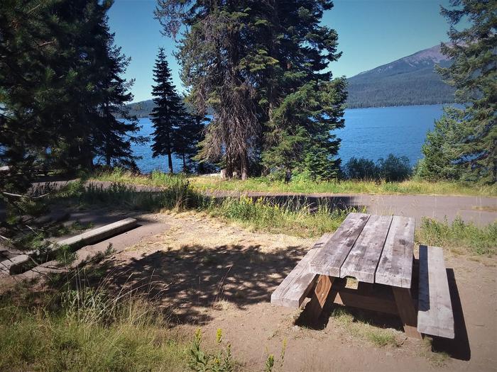 Lakeside campsite at Diamond Lake Campground, Umpqua National ForestCampsite alongside Diamond Lake, Umpqua National Forest