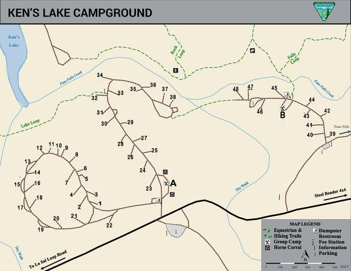 Map of Ken's Lake Campground