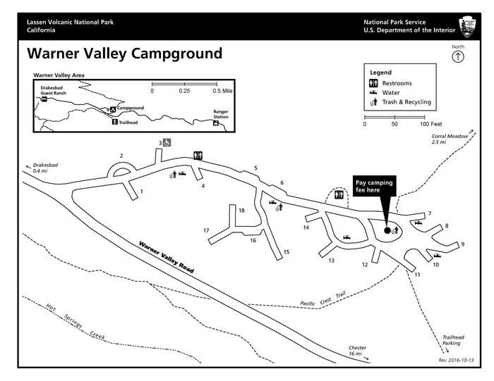 Warner Valley Campground MapThis small campground is perched on at the base of Flatiron Ridge.