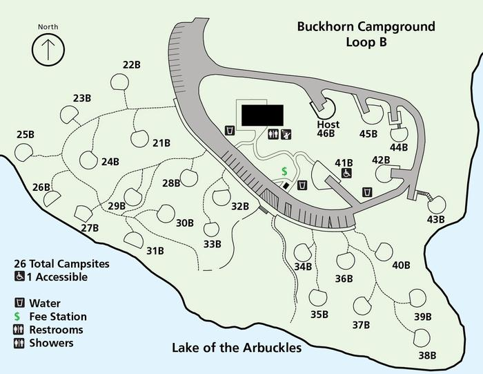 Buckhorn Campground Loop B mapBuckhorn Campground Loop B is first-come, first-served and is open only in summer months.
