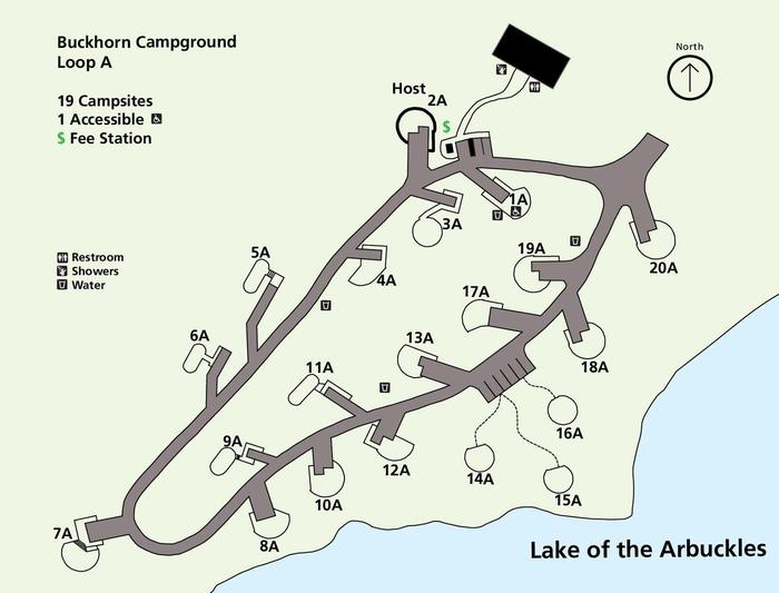 Buckhorn Campground Loop A mapLoop A is first come, first served and is only open in summer months.