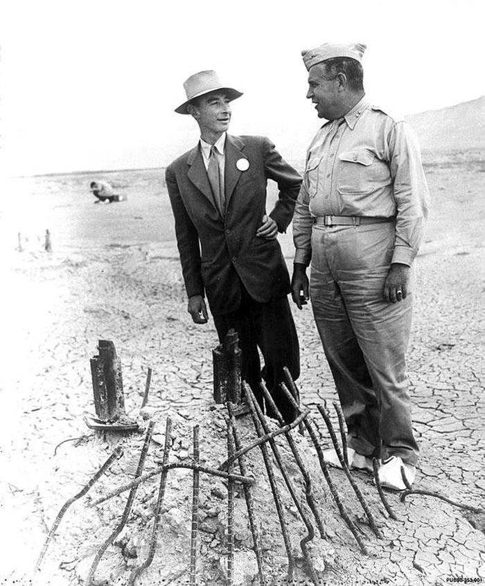 Groves and Oppenheimer at Trinity SiteJ. Robert Oppenheimer and Gen. Leslie Groves at the Trinity Test Site.