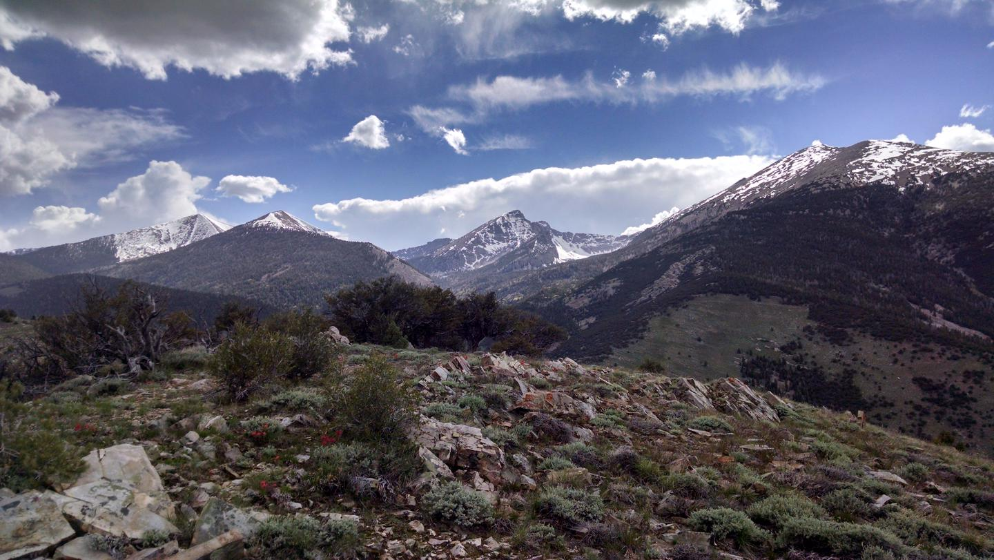 Mountains of the Snake Range in summer, with clouds and blue sky above.The Snake Range of Great Basin National Park.