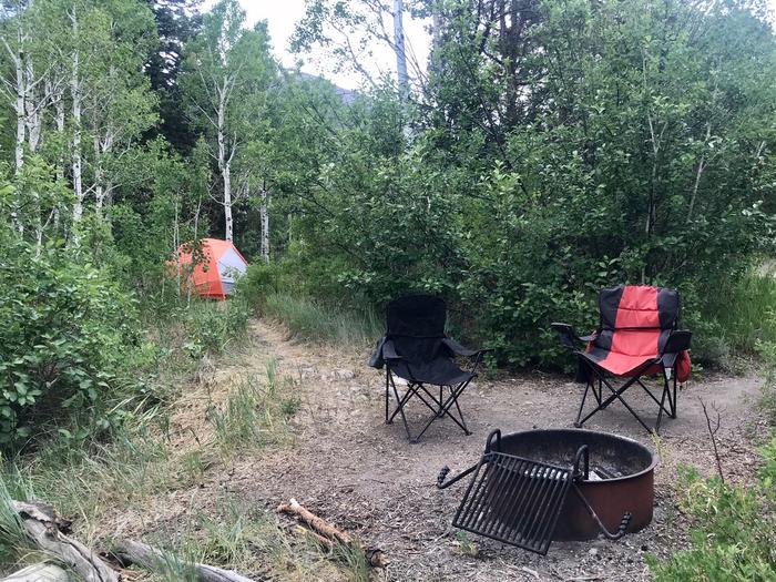 Campfire ring, orange tent and two camp chairs surrounded by aspen trees and brush.Lower Lehman Campground Site #2