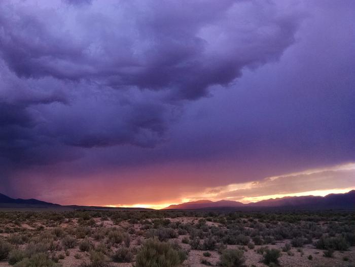 Sage and desert shrubs with an overcast sunset sky aboveGreat Basin Desert Sunset