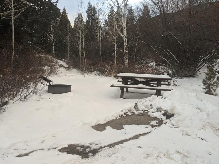 Snow-covered picnic table and campfire ring surrounded by aspen treesLower Lehman Campground site #7 in winter. Looks homier during peak season..