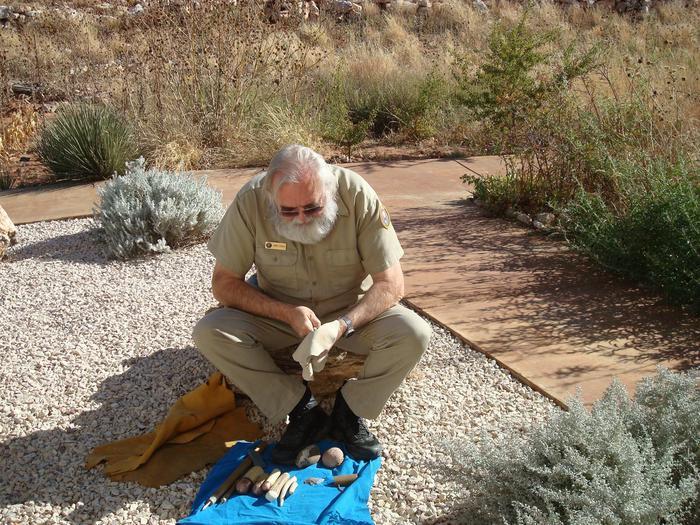 Flint KnappingVolunteer Jimmy Green demonstrates the art of flint knapping.