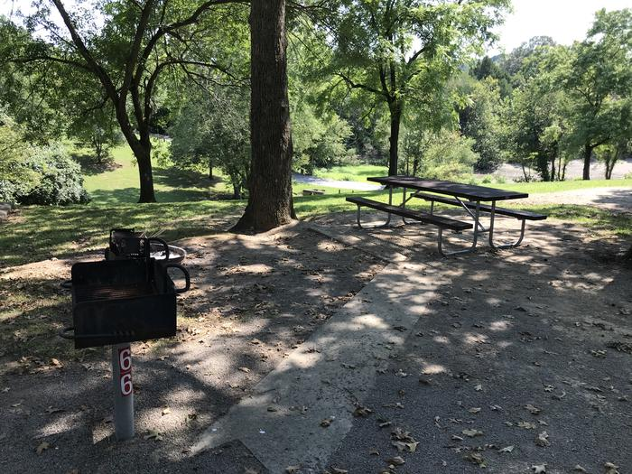 WILLOW GROVE CAMPGROUND SITE #66 TABLE AND PEDESTAL GRILLWILLOW GROVE CAMPGROUND SITE #66