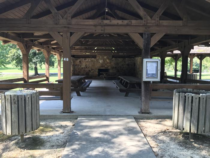 WILLOW GROVE PICNIC SHELTER ACCESS ENTRY WITH TRASH CANS AND RESERVED BULLETIN BOARDWILLOW GROVE PICNIC SHELTER