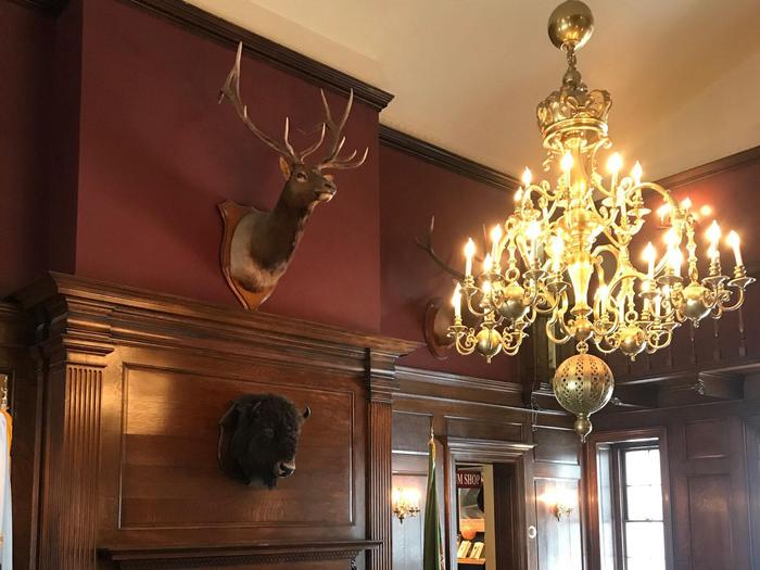 The Pavilion Visitor CenterThe historic Vanderbilt Pavilion retains many historic features, including the large brass chandelier and mounted trophies.