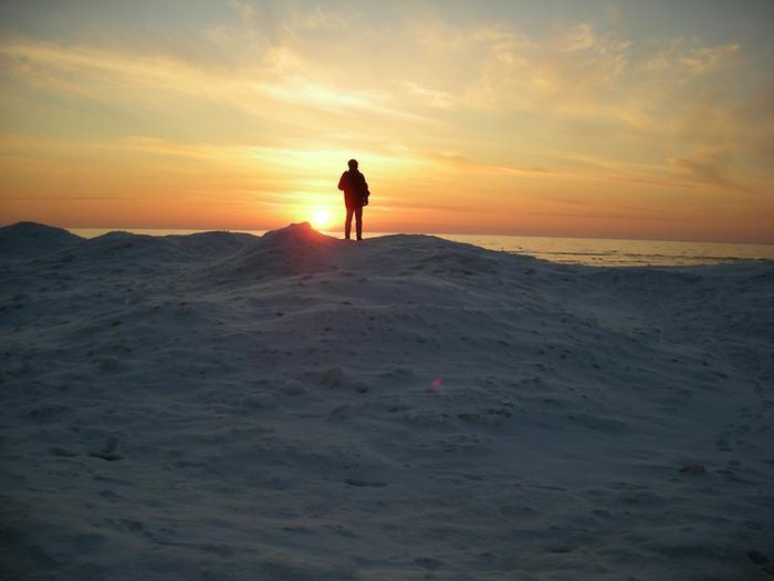 Winter sunsetEnjoying a winter sunset from a frozen sand perch.
