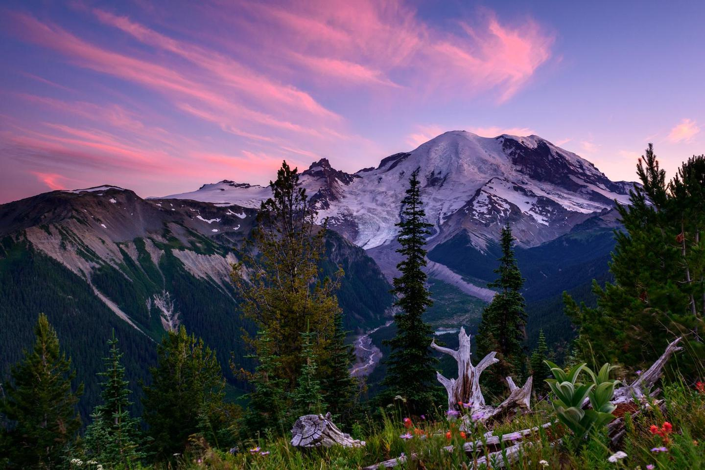 Silver Forest SunsetThe Silver Forest Trail at Sunrise features spectacular views of Mount Rainier and the White River valley.