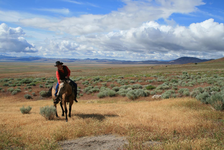 Simpson Spring NPEA rider, UtahA National Pony Express Association rider poses at Simpson Springs in Utah.