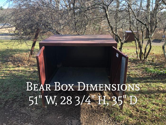 """Food storage bins,  a """"bear box"""" is provided for your convenience.  Store all food, coolers and scented items in these bins whenever you are not right there with your belongs both during the day and at night."""
