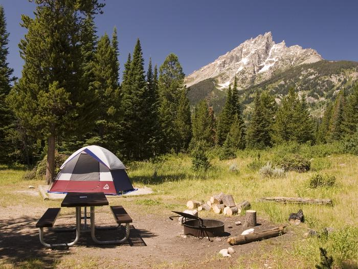 Jenny Lake CampgroundTucked away at the base of the Teton Mountain Range, Jenny Lake Campground is situated within walking distance of the eastern shore of Jenny Lake, with views of Teewinot Mountain, Mount St. John, and into Cascade Canyon.