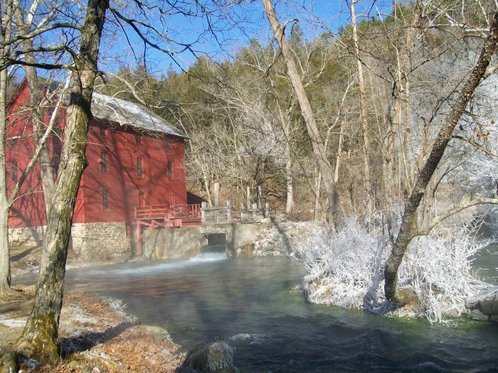 Alley Spring in the winterAlley Spring Roller Mill is a popular destination year round.