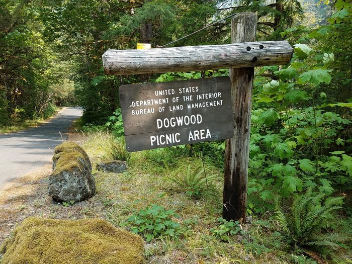 Site entry sign at Dogwood Picnic Area