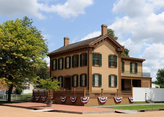 Lincoln Home Draped in BuntingThe original home where Abraham Lincoln lived before his presidency still stands and welcomes visitors to explore Lincoln's pre-presidential legacy.