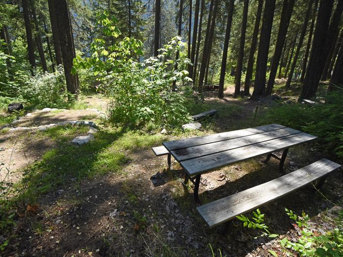 A picnic table in a campsite surrounded by open forestLakeview Site 2