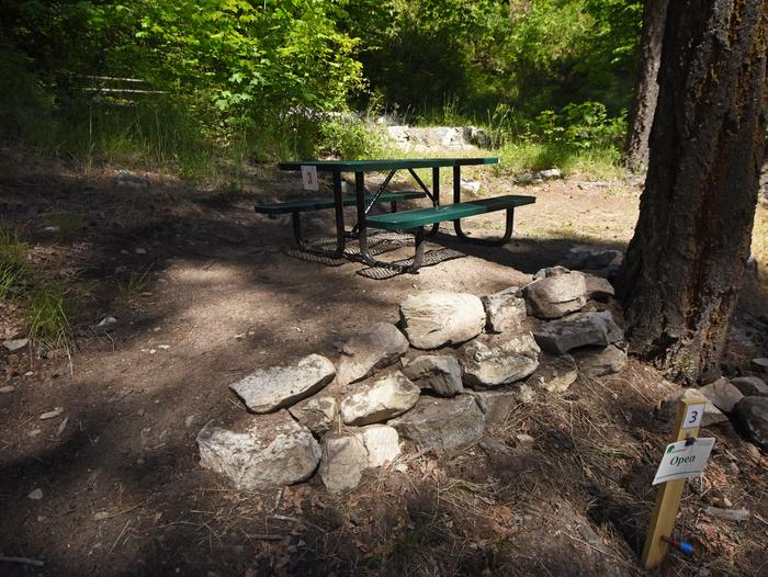 A picnic table in a campsite surrounded by open forestLakeview Site 3