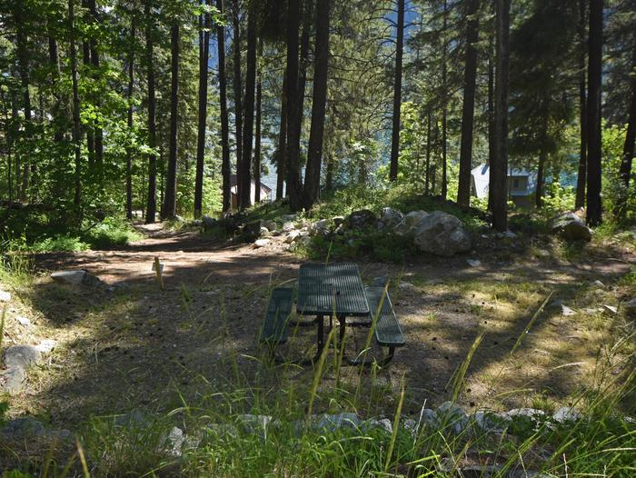A picnic table in the middle of a campsite surrounded by open forestLakeview Site 6