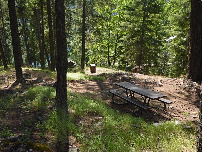 A picnic table in a campsite surrounded by open forestLakeview Site 9