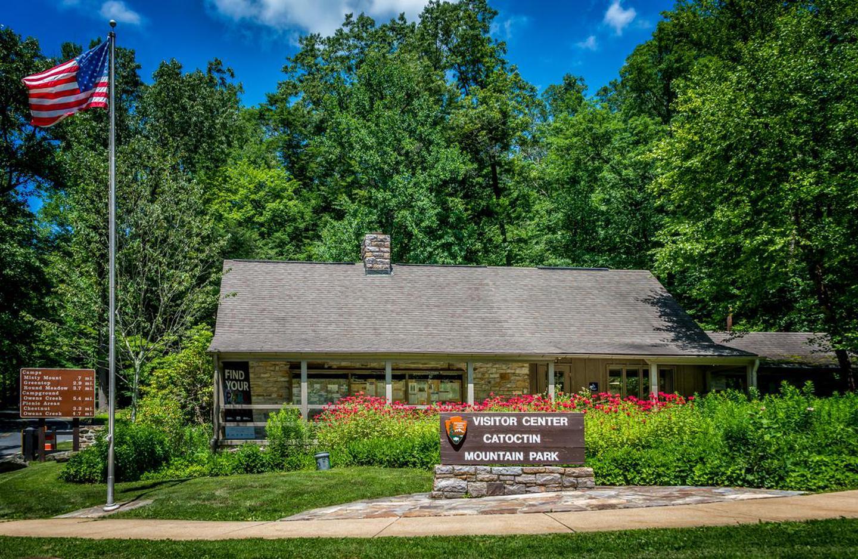 Visitor Center in SummerCatoctin Mountain Park's visitor center during the summer with a flourishing pollinator garden.