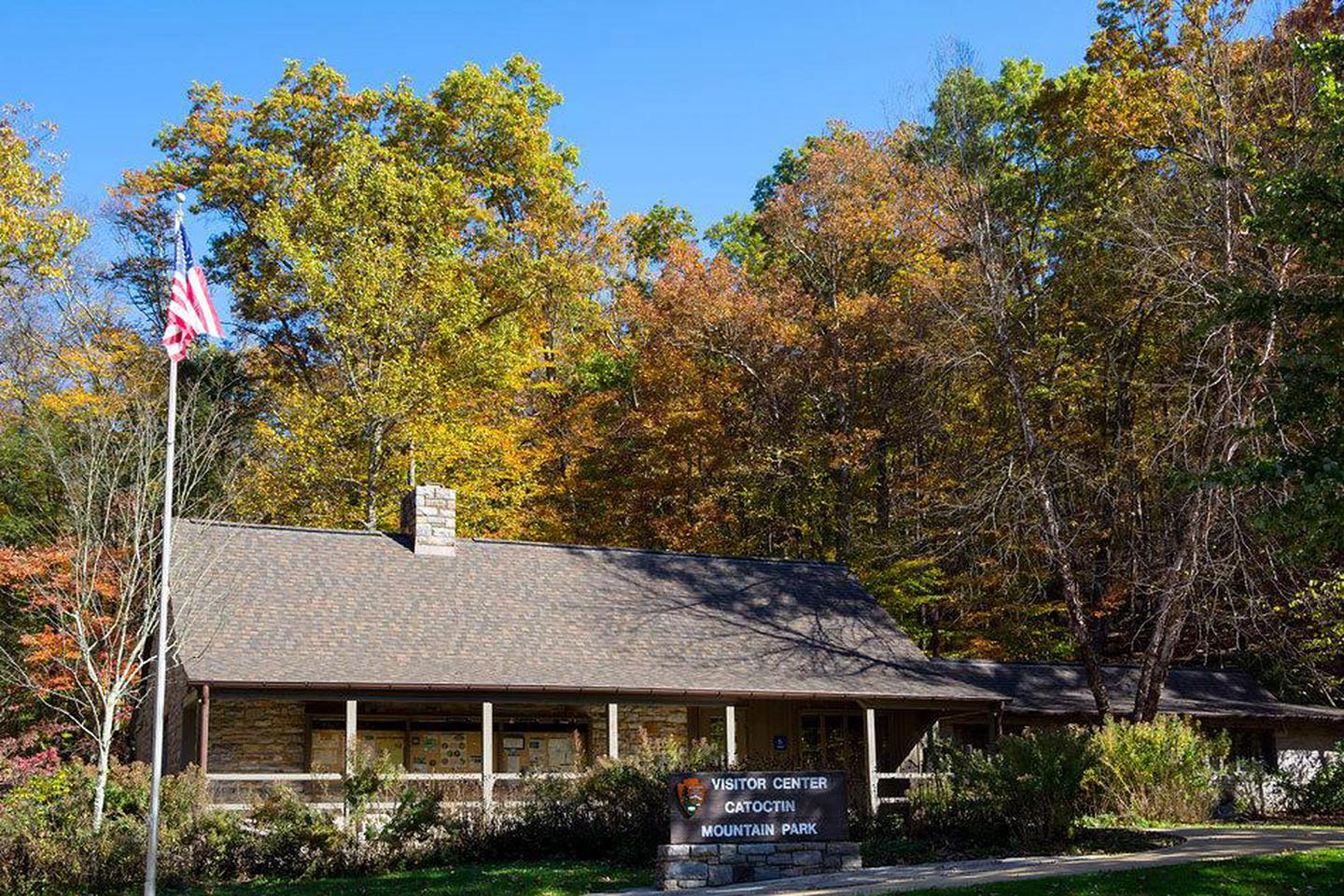 Visitor Center in FallDuring fall, the pollinator garden dies off and the surrounding trees turn every shade of yellow, orange, and red.