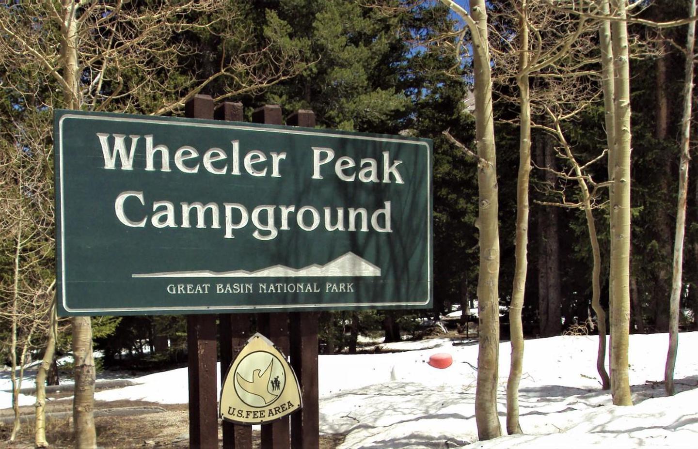 Wheeler Peak CampgroundWheeler Peak Campground Sign in snow