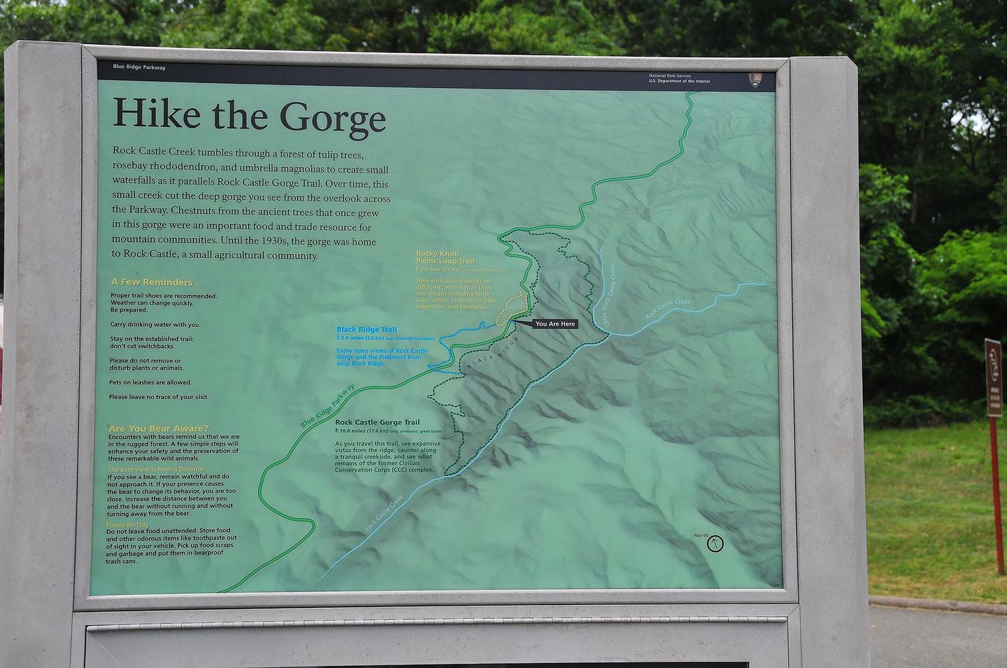 Rock Castle Gorge Map WaysideStop at the Rocky Knob Visitor Center for information about hiking Rock Castle Gorge.