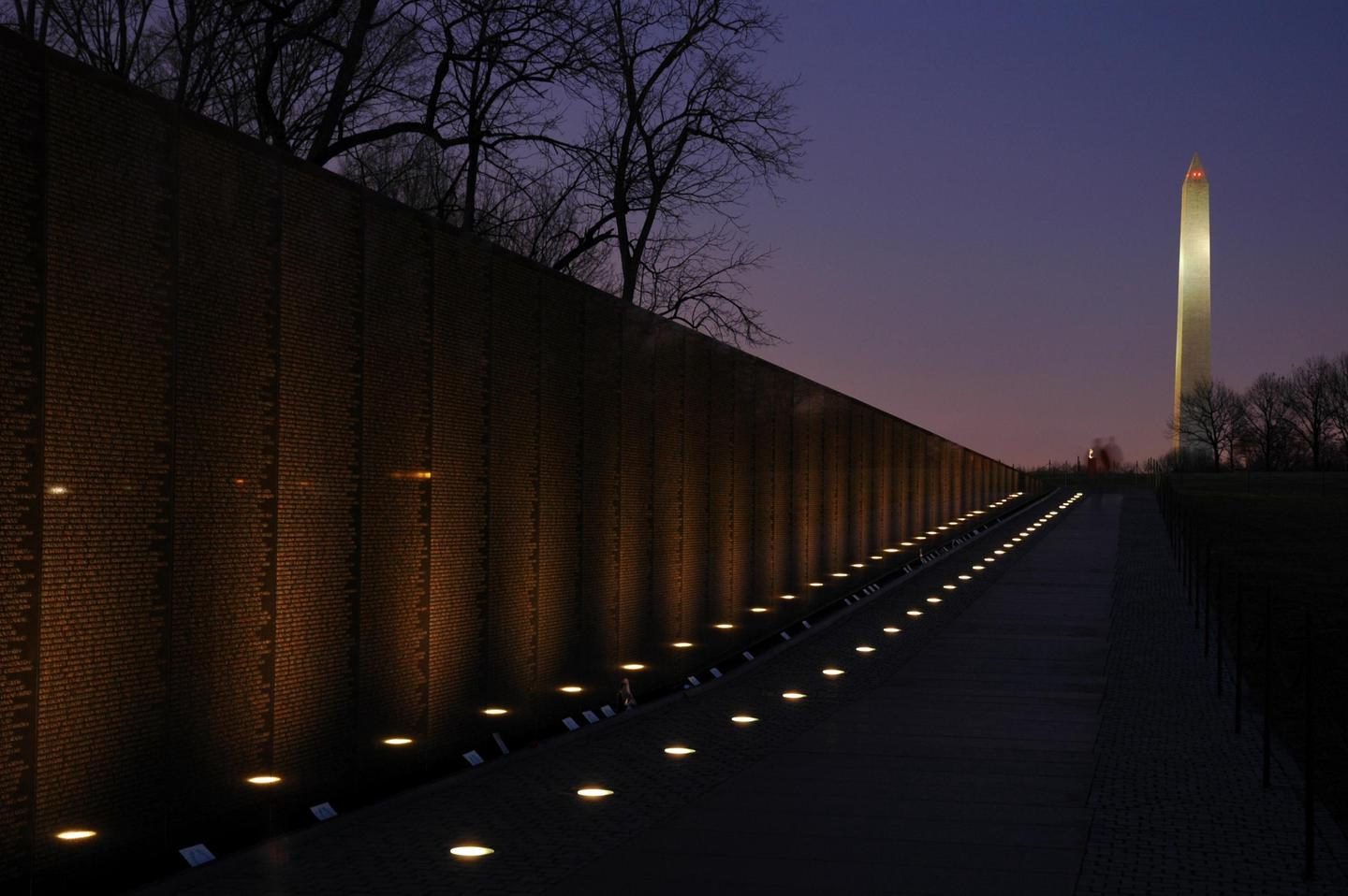 Vietnam Veterans Memorial at nightVisiting after dark completely changes the character of the memorial.