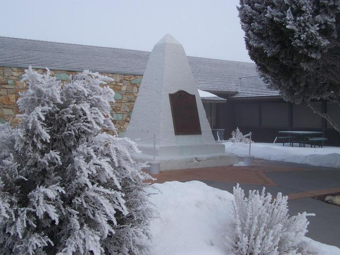 Commemorative Obelisk in Visitor Center Courtyard