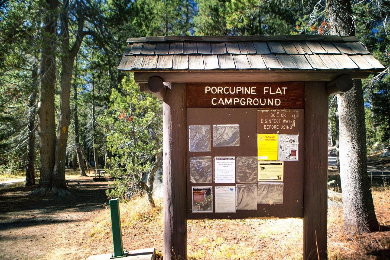 Porcupine Creek CampgroundA message board in Porcupine Creek Campground