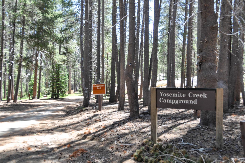 Yosemite Creek CampgroundThe entrance to Yosemite Creek Campground