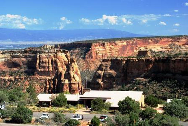 Saddlehorn Visitor Center in SummerView of Saddlehorn Visitor Center from Black Ridge Trail