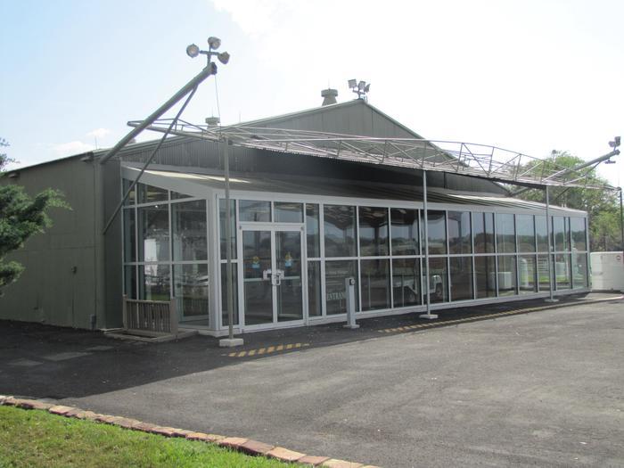 Hangar Visitor Center ExteriorThe LBJ Ranch airplane hangar now serves as a visitor center.