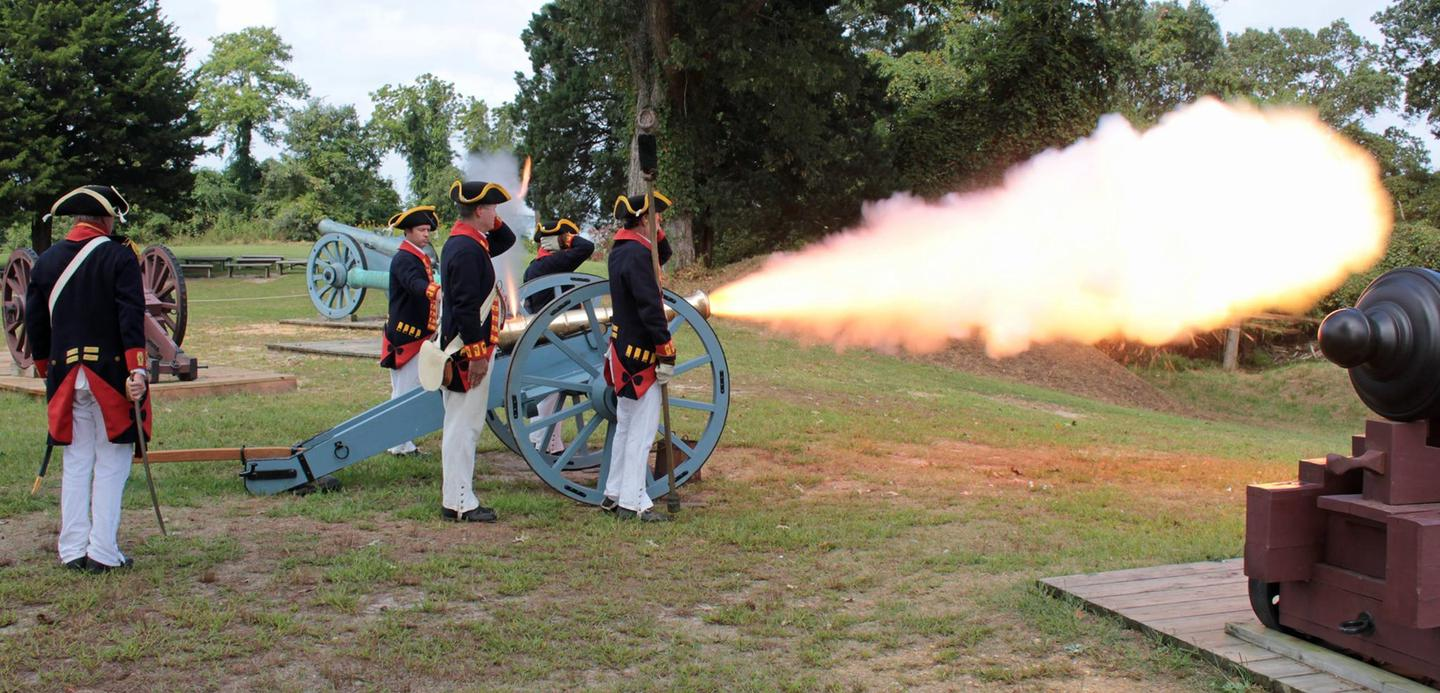 The Royal Artillery Living History Team Firing Yorktown Battlefield's 6 PounderLiving History Program