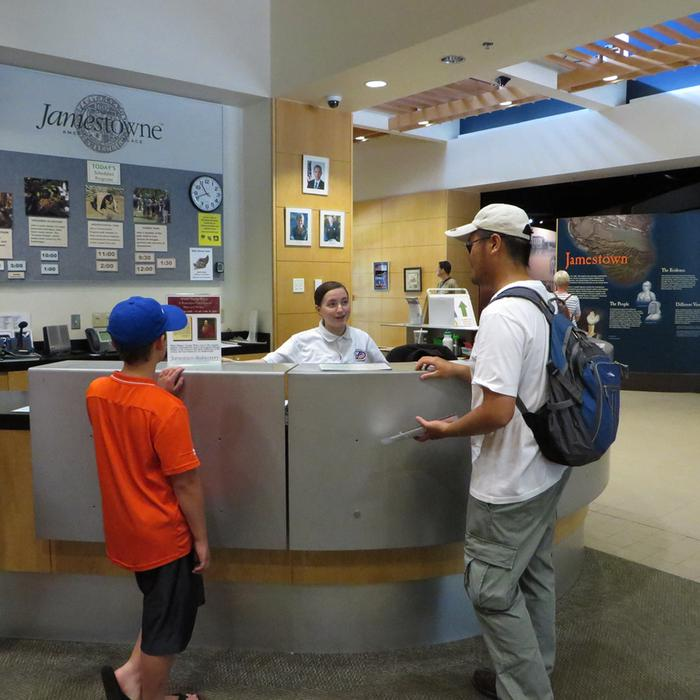 Historic Jamestowne Visitor CenterVolunteer Informing Visitors of Interpretive Programs
