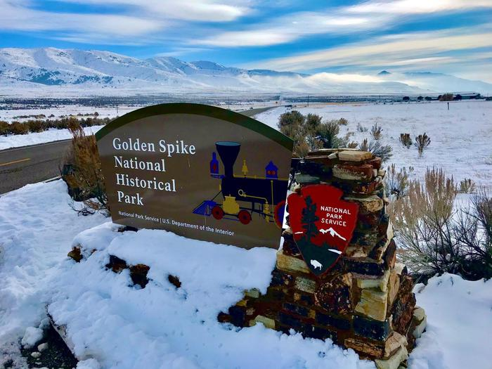 Golden Spike Park Entrance SignWinter View of Golden Spike Entrance Sign