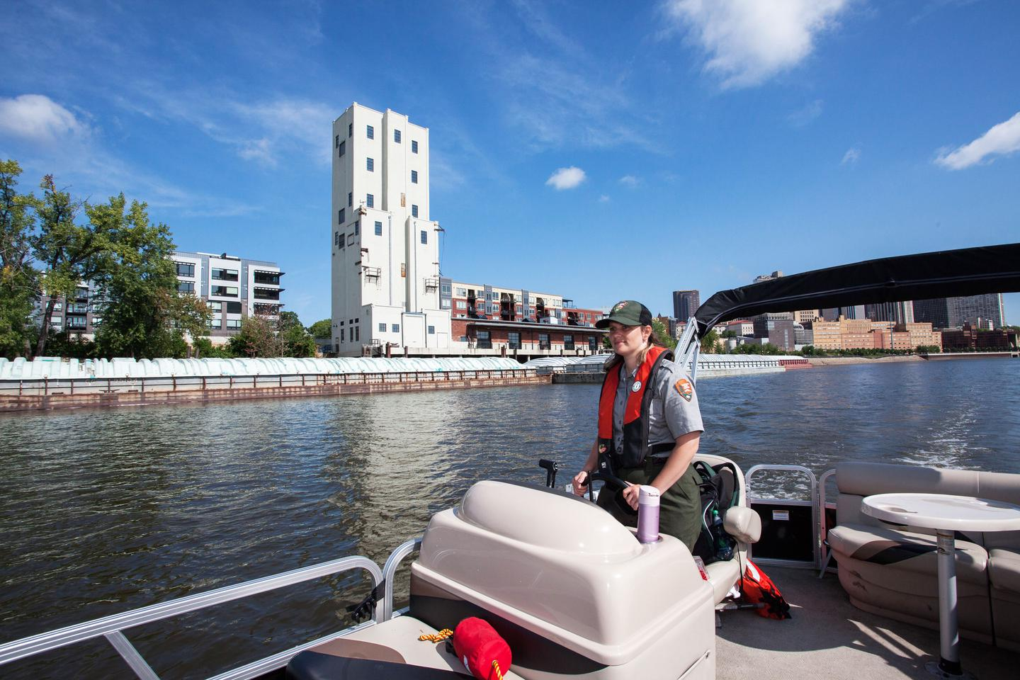 Boating on the Mississippi RiverOur park rangers often use boats, bikes, and hikes to help visitors understand the historical and cultural significance of our park.