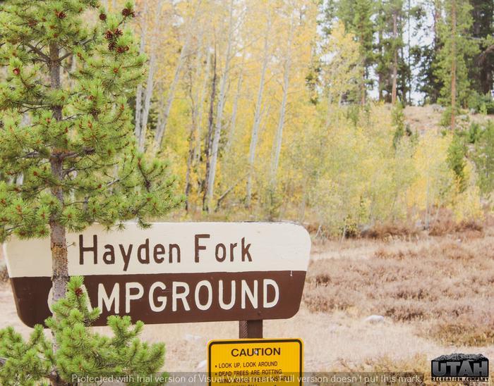 Hayden Fork Campground signHayden Fork Campground