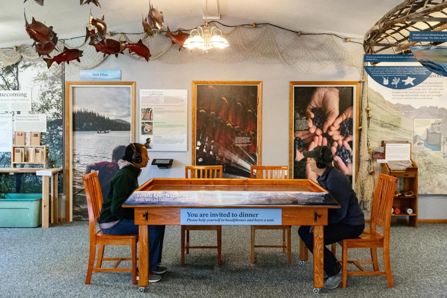 You're Invited to DinnerCome explore Dena'ina stories through a multimedia exhibit inside the visitor center.