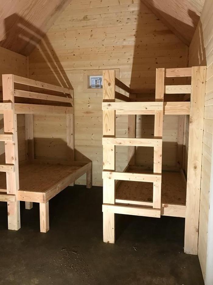 Interior of cabin showing bunksCabin bunks