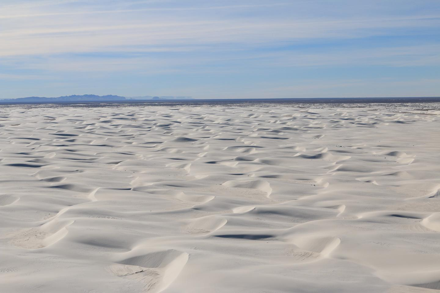 Aerial of DunefieldThe dunes at White Sands cover 275 square miles of the Tularosa Basin.