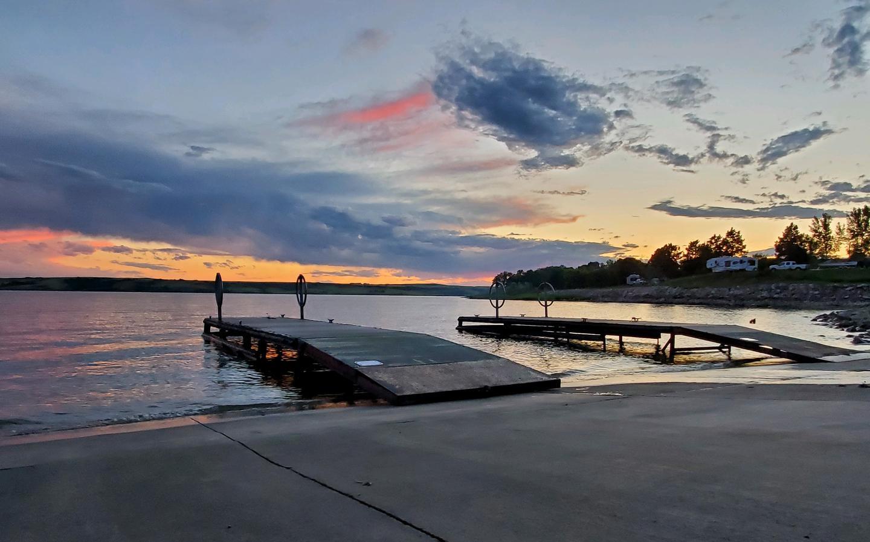Beaver Creek boat ramp at Sunset.Calm waters on Beaver Creek at sunset at the boat ramp.