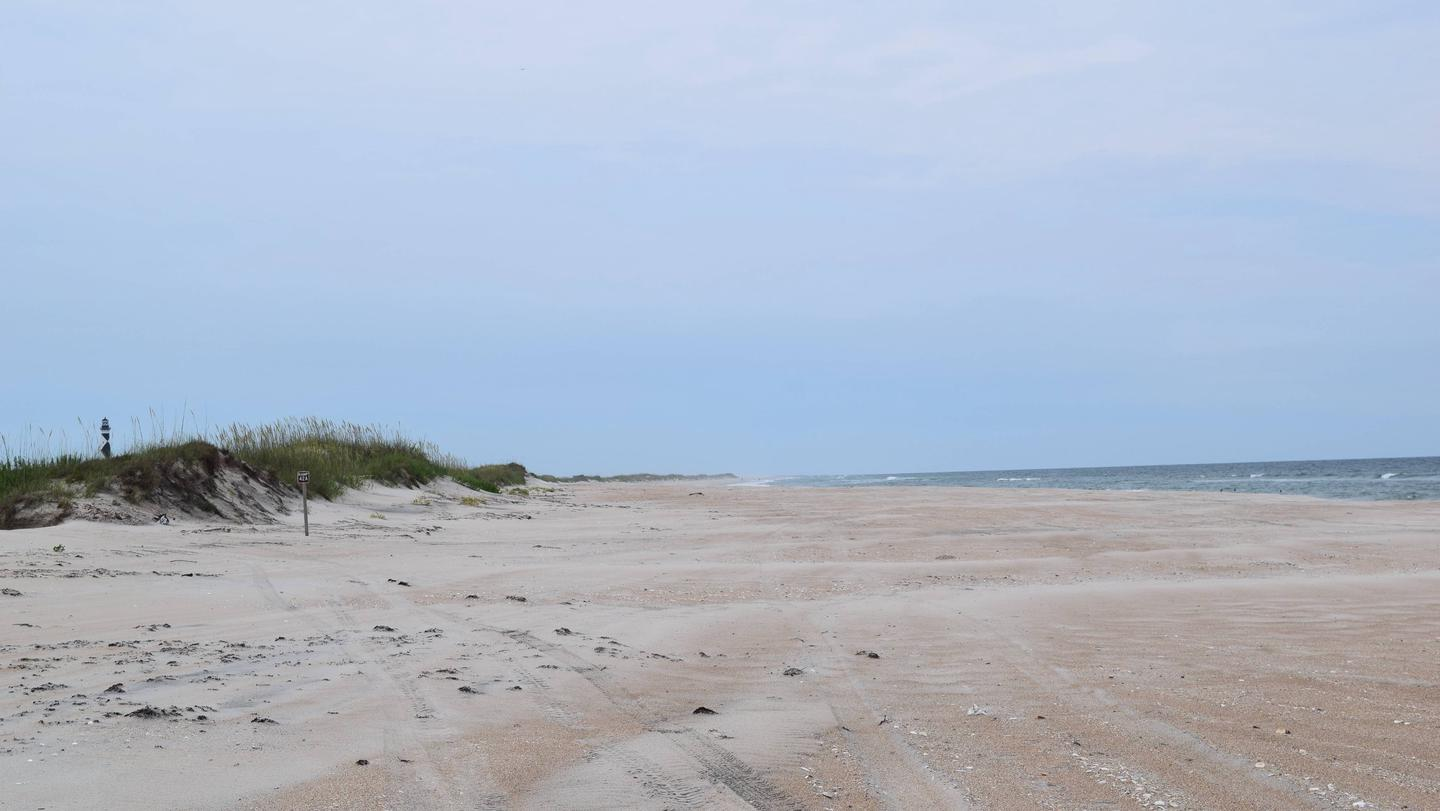Beach with lighthouse in the distanceBeach at Cape Lookout