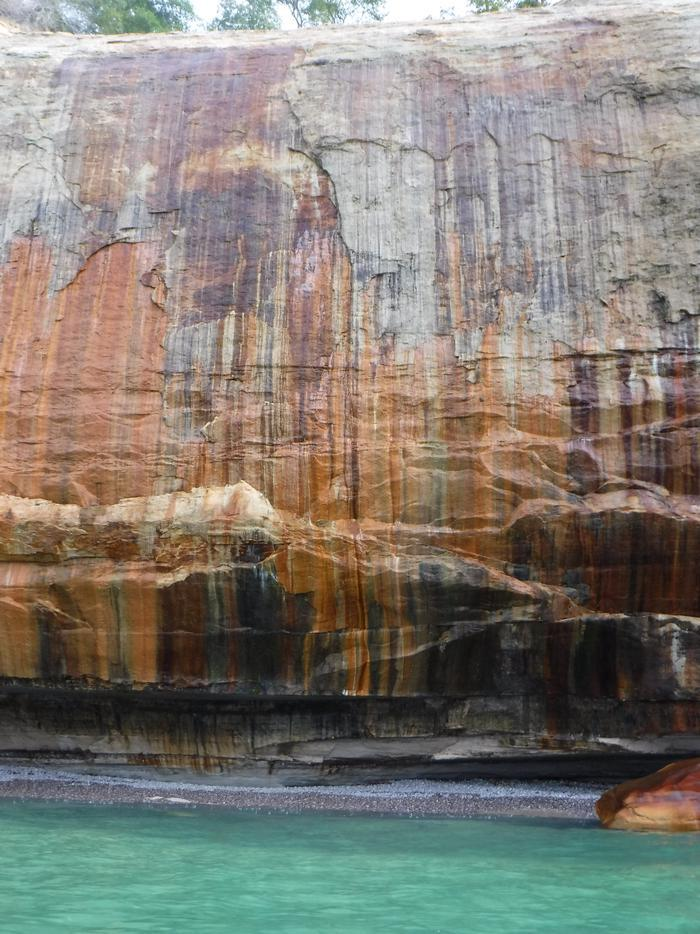 Pictured Rocks Colorful Cliff WallThe park is named for the colorful cliff walls along Lake Superior shoreline.