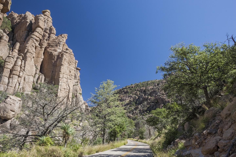 Bonita CanyonBonita Canyon Scenic Drive winds through standing rocks and rhyolite cliffs, climbing to Massai Point at 6900 ft / 2100 m.